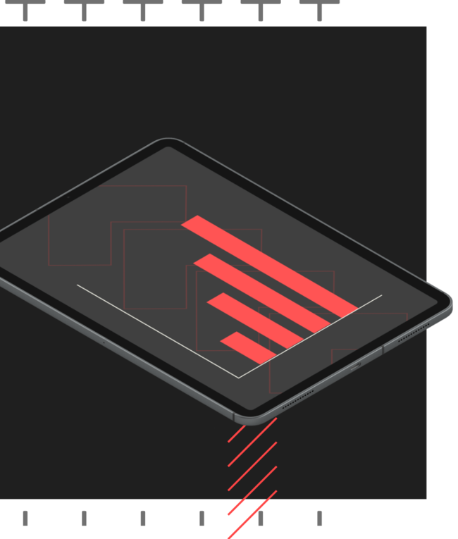Sleek tablet computer with data graphs on screen
